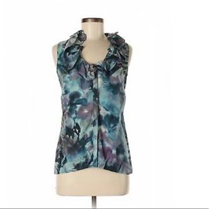 Ann Taylor Silk Sleeveless Top with Ruffled Neck